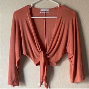 Urban Outfitters Coral Tie Front top